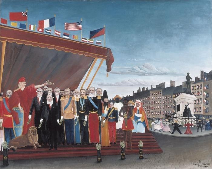 Henri Rousseau - Edustajien ulkovaltojen Tulossa tervehtimään tasavaltaan merkkinä Peace Pixerstick tarra -