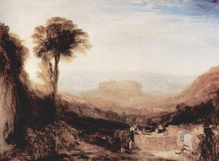 Naklejka Pixerstick William Turner - Widok Orvieto namalowany w Rzymie - Reprodukcje