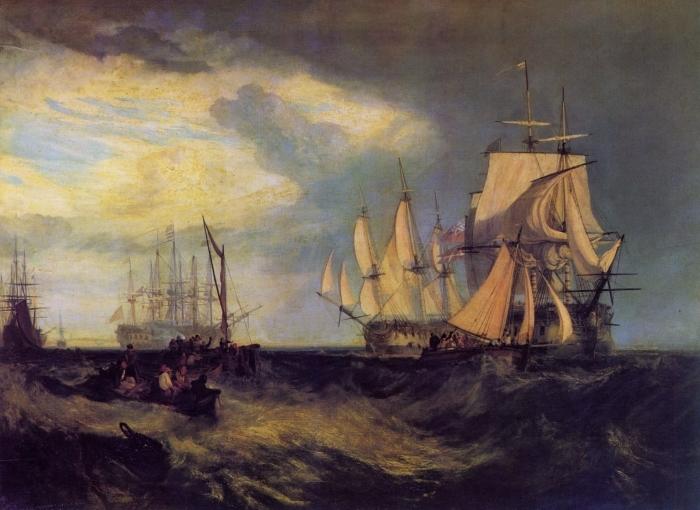 Naklejka Pixerstick William Turner - Załoga łodzi podnosi kotwicę niedaleko Spithead - Reprodukcje