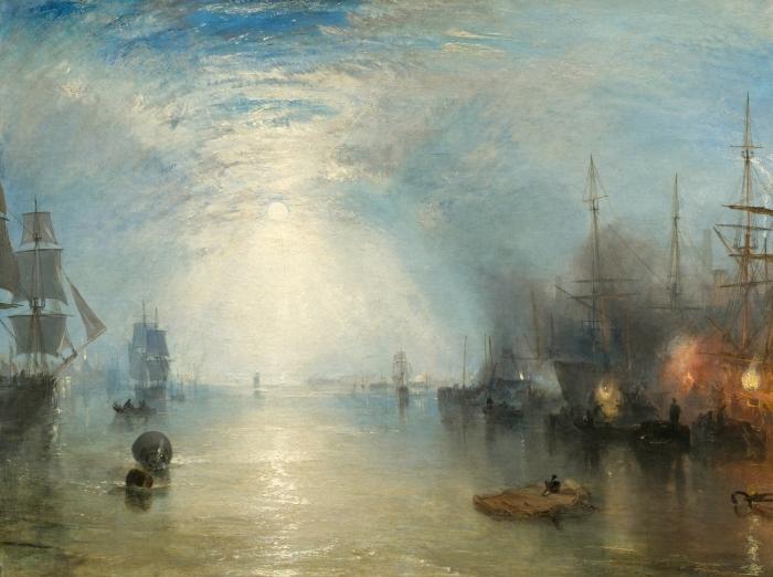 Papier peint vinyle William Turner - Keelmen Heaving in Coals by Moonlight - Reproductions