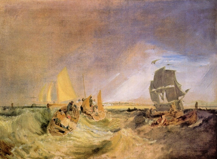 Papier peint vinyle William Turner - Shipping at the Mouth of the Thames - Reproductions