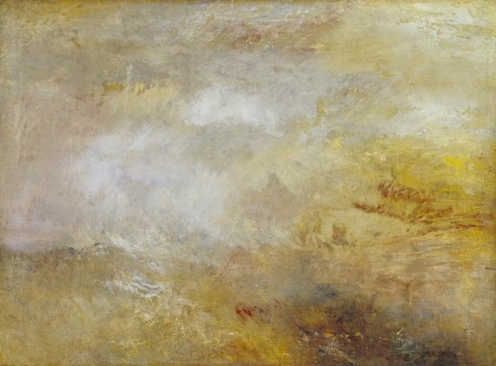 Papier peint vinyle William Turner - Stormy Sea avec les dauphins - Reproductions
