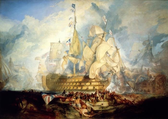 Papier peint vinyle William Turner - La bataille de Trafalgar - Reproductions
