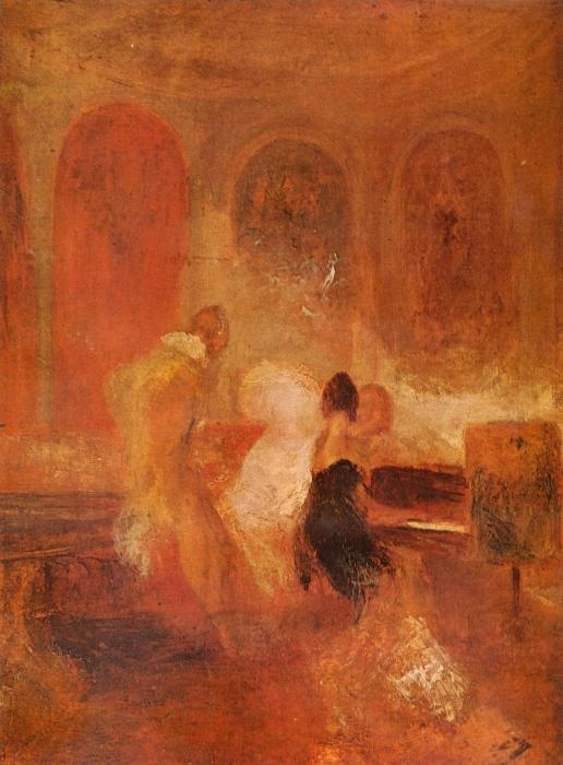 Pixerstick Aufkleber William Turner - Musikgesellschaft in East Cowes Castle - Reproduktion