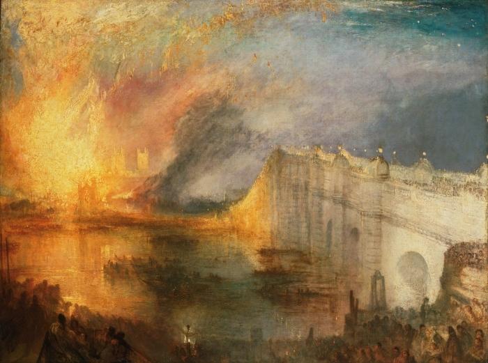 Papier peint vinyle William Turner - L'Incendie de la Chambre des Lords et des Communes, le 16 octobre 1834 - Reproductions