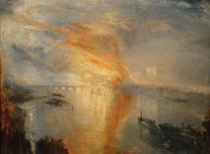 Papier peint vinyle William Turner - L'Incendie de la Chambre des Lords et des Communes, le 16 octobre 1834, - Reproductions