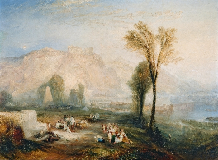 Naklejka Pixerstick William Turner - The Bright Stone of Honor (Ehrenbreitstein) and Tomb of Marceau from Byron's 'Childe Harold - Reprodukcje
