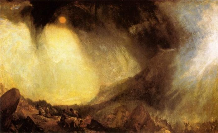 Papier peint vinyle William Turner - Tempête de neige : Hannibal et son armée traversant les Alpes - Reproductions