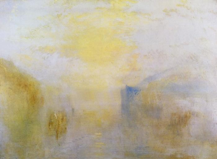 Fototapeta winylowa William Turner - Wschód słońca z łodzią pomiędzy cyplami - Reprodukcje