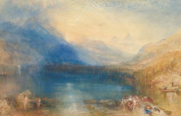 Pixerstick Sticker William Turner - Het meer van Zug, 's Ochtends vroeg - Reproducties