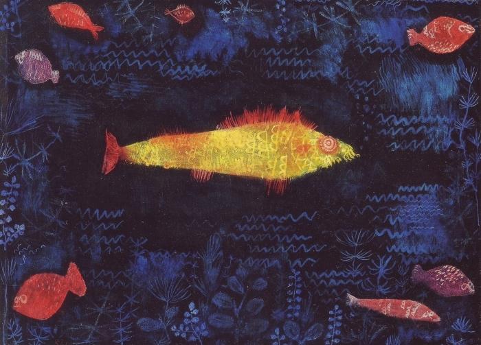 Naklejka Pixerstick Paul Klee - Złota rybka - Reprodukcje