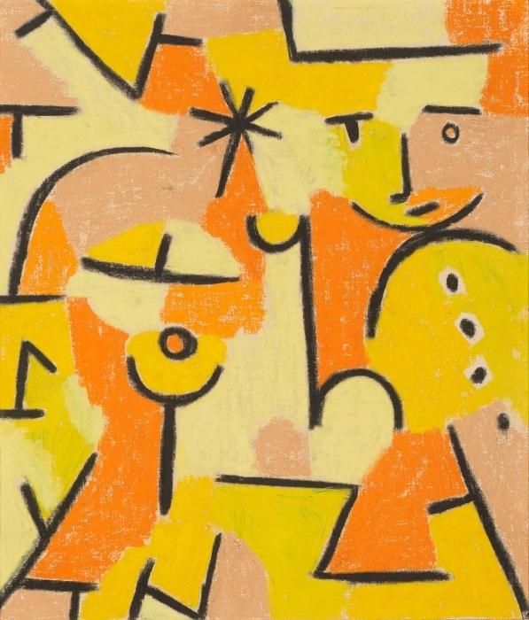 Naklejka Pixerstick Paul Klee - Żółta postać - Reprodukcje