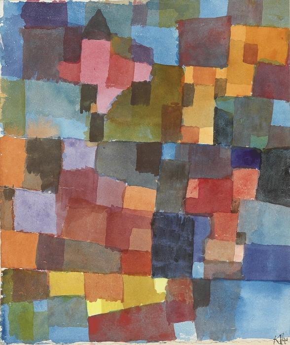 Pixerstick Aufkleber Paul Klee - Raumarchitekturen (Auf Kalt-Warm) - Reproduktion