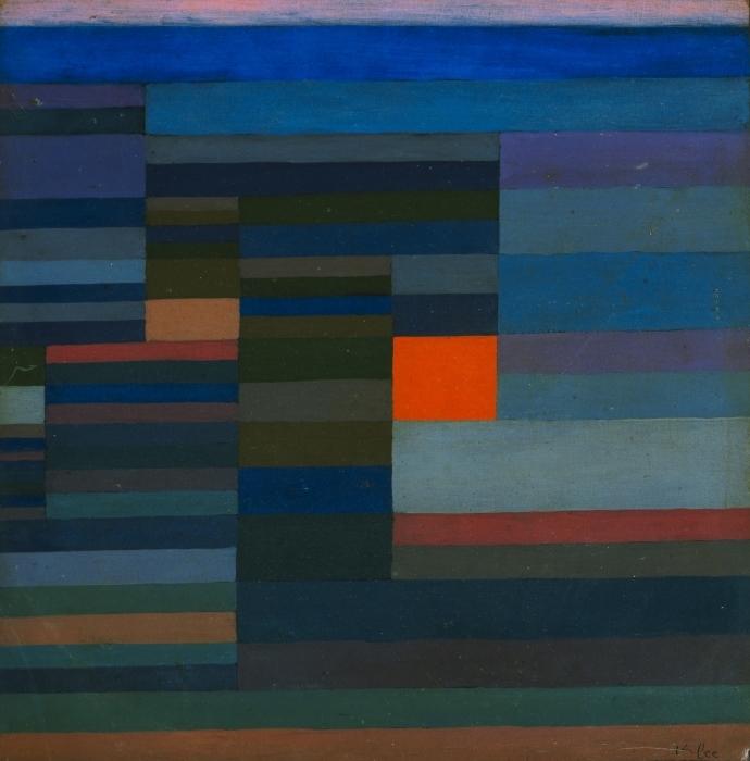 Naklejka Pixerstick Paul Klee - Wieczorny pożar - Reprodukcje