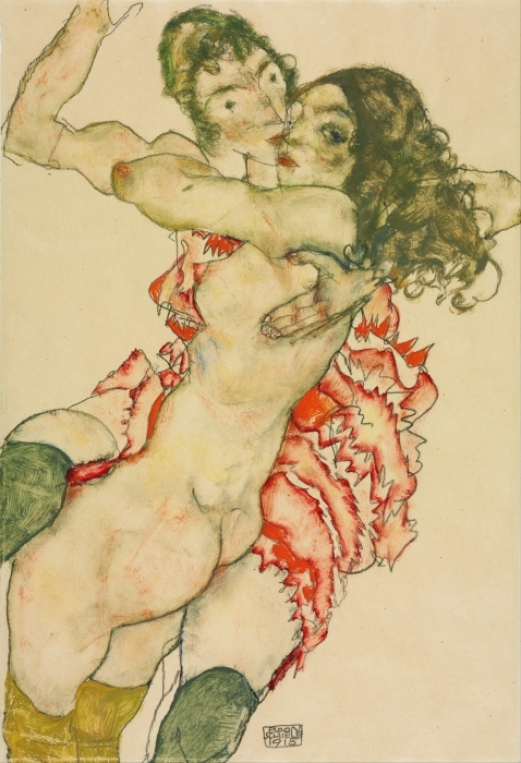 Naklejka Pixerstick Egon Schiele - Dwie kobiety - Reprodukcje