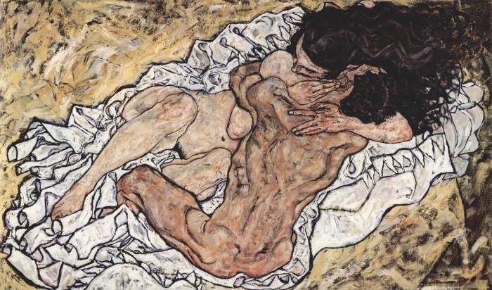 Papier peint vinyle Egon Schiele - L'Étreinte (couple d'amoureux II) - Reproductions