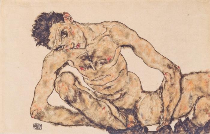 Papier peint vinyle Egon Schiele - Autoportrait nu - Reproductions