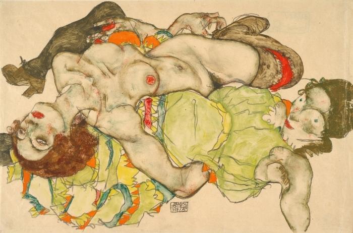 Papier peint vinyle Egon Schiele - Couple de femmes amoureuses - Reproductions
