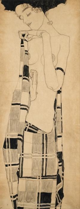 Papier peint vinyle Egon Schiele - Fille debout dans le chiffon quadrillé - Reproductions