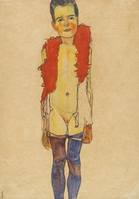 Sticker Pixerstick Egon Schiele - Une fille avec boa - Reproductions