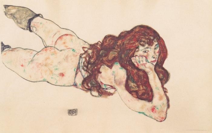 Sticker Pixerstick Egon Schiele - Femme nue couchée sur le ventre - Reproductions