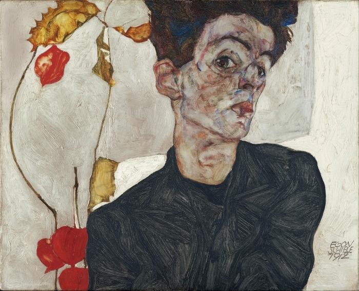 Papier peint vinyle Egon Schiele - Autoportrait - Reproductions