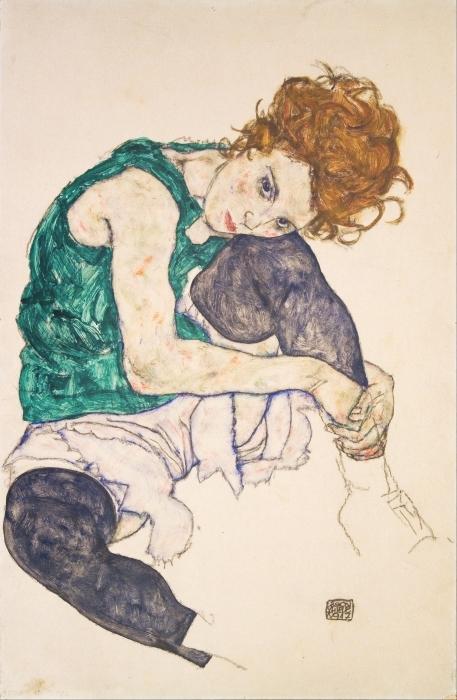 Papier peint vinyle Egon Schiele - Femme assise genoux plié - Reproductions