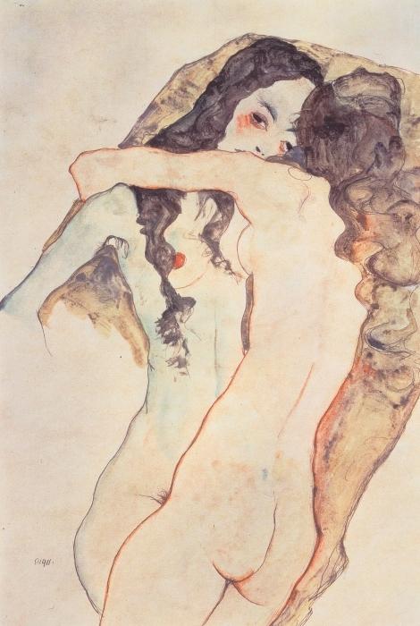 Vinyl-Fototapete Egon Schiele - Zwei sich umarmende Frauen - Reproduktion