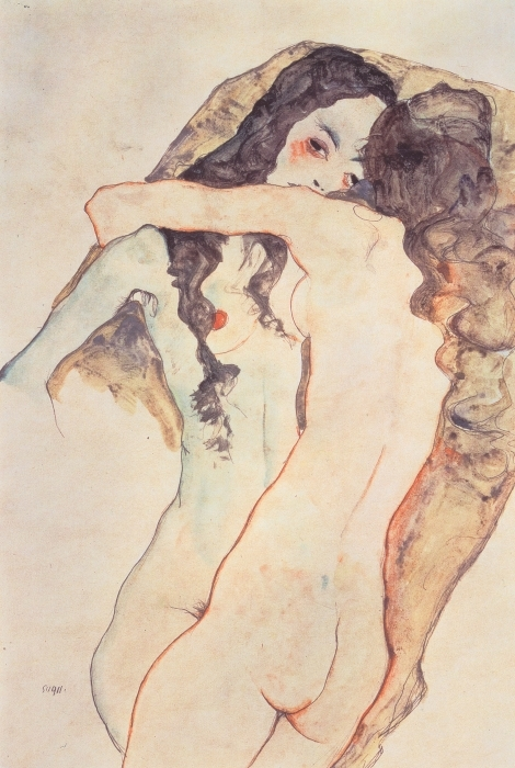 Egon Schiele - Female Lovers Vinyl Wall Mural - Reproductions