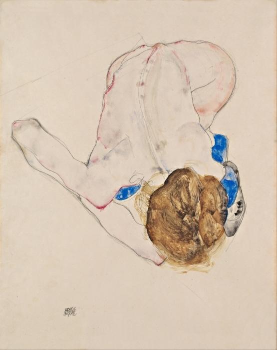 Vinyl Fotobehang Egon Schiele - Een naakte vrouw met blauwe kousen aan buigt naar voren - Reproducties