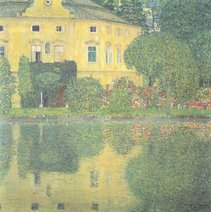 Pixerstick Aufkleber Egon Schiele - Bäume spiegeln sich in einem Teich wider - Reproduktion