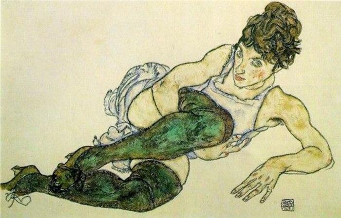 Sticker Pixerstick Egon Schiele - Femme allongée aux bas verts - Reproductions