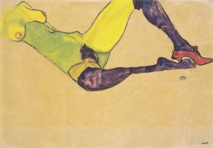 Naklejka Pixerstick Egon Schiele - Kobieta w niebieskich pończochach - Reprodukcje