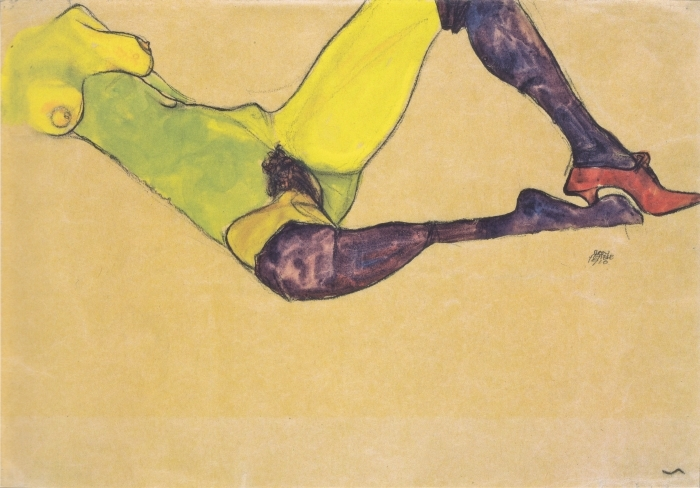 Egon Schiele - Woman with Blue Stockings Pixerstick Sticker - Reproductions