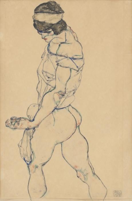 Naklejka Pixerstick Egon Schiele - Atletka - Reprodukcje