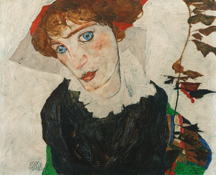 Naklejka Pixerstick Egon Schiele - Portret Gerti Schiele - Reprodukcje