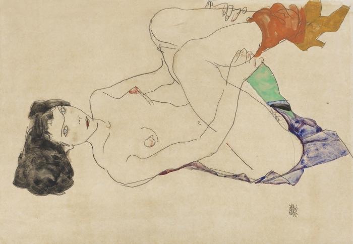 Naklejka Pixerstick Egon Schiele - Leżąca naga dziewczyna - Reprodukcje
