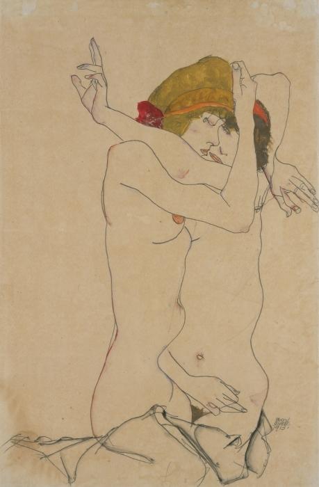 Papier peint vinyle Egon Schiele - Deux femmes s'embrassant - Reproductions