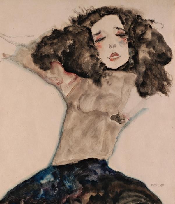Vinyl-Fototapete Egon Schiele - Schwarzhaariges Mädchen mit hochgeschlagenem Rock - Reproduktion