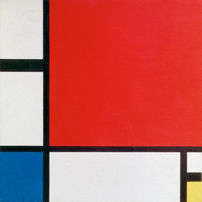 Naklejka Pixerstick Piet Mondrian - Kompozycja II w kolorze czerwonym, niebieskim i żółtym - Reprodukcje