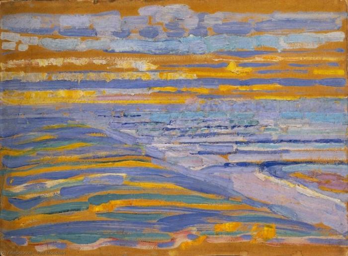 Naklejka Pixerstick Piet Mondrian - Widok z wydmy z plażą i pomostami - Reprodukcje