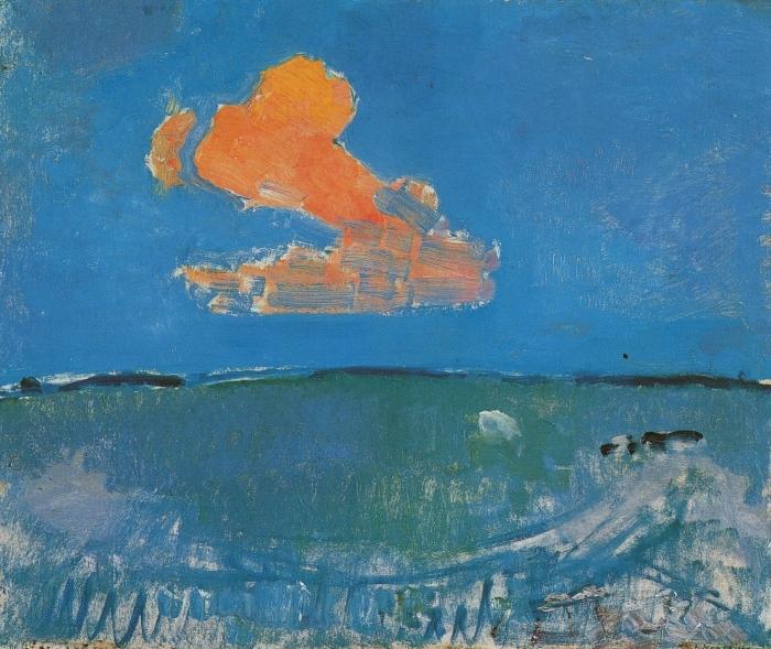 Papier peint vinyle Piet Mondrian - Le nuage rouge - Reproductions