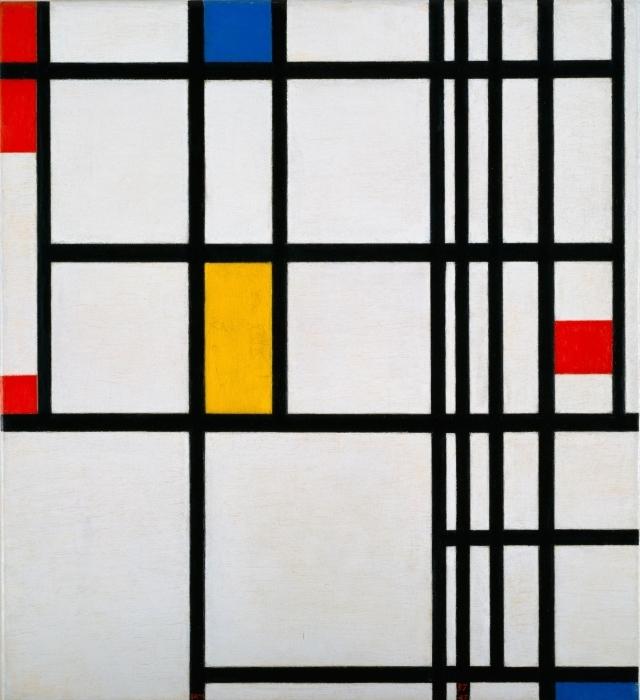 Sticker Pixerstick Piet Mondrian - Composition en rouge, bleu et jaune - Reproductions