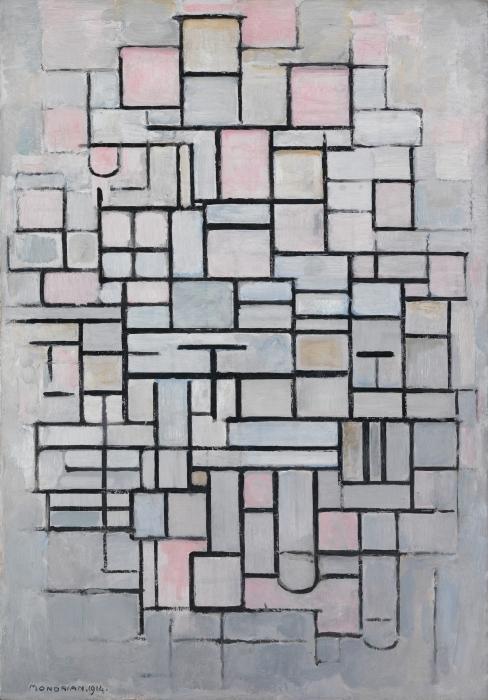 Naklejka Pixerstick Piet Mondrian - Kompozycja nr 4 - Reprodukcje