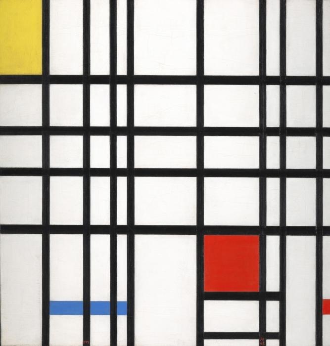 Sticker Pixerstick Piet Mondrian - Composition avec jaune, bleu et rouge - Reproductions