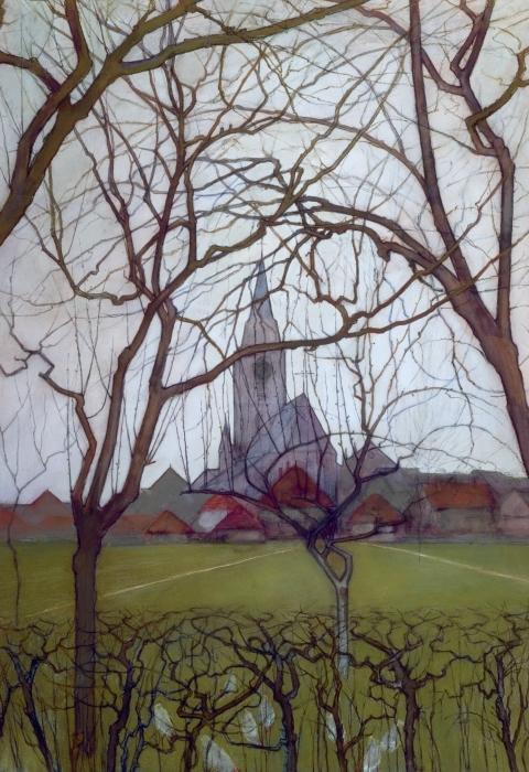 Naklejka Pixerstick Piet Mondrian - Wiejski kościół - Reprodukcje