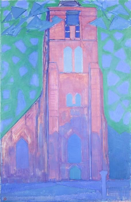 Naklejka Pixerstick Piet Mondrian - Wieża kościoła w Domburgu - Reprodukcje