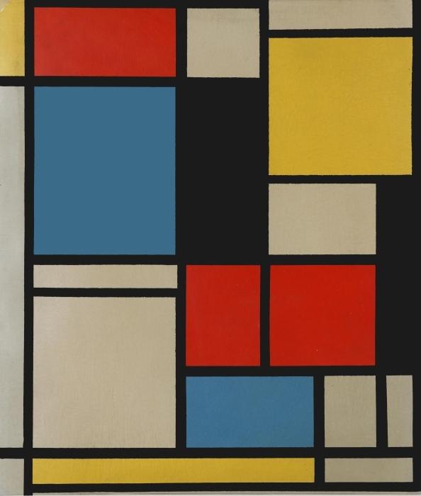 Papier peint vinyle Piet Mondrian - Composition C (no III) avec rouge, jaune et bleu - Reproductions