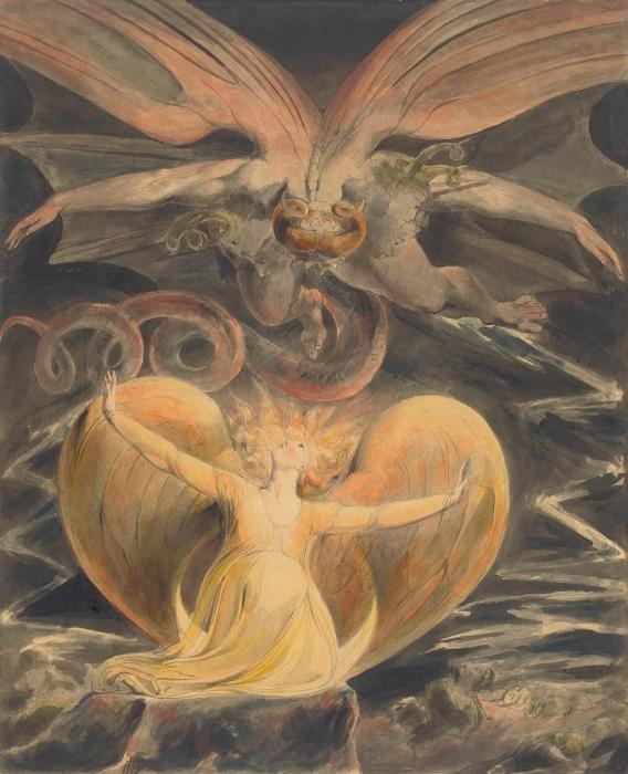 Naklejka Pixerstick William Blake - Wielki Czerwony Smok i Niewiasta obleczona w Słońce - Reprodukcje