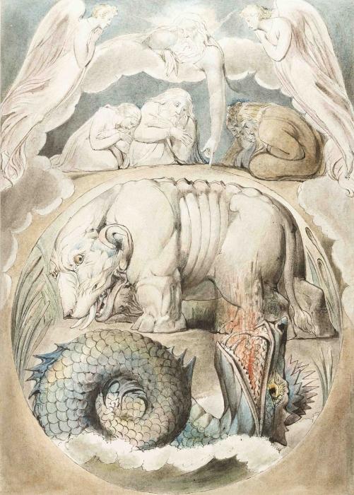 Naklejka Pixerstick William Blake - Behemothi Lewiatan - Reprodukcje